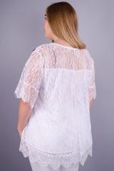 Квитка Роза. Касивая блуза plus size. Белый.