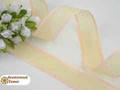 Лента органза персиковая в белый горох 25 мм