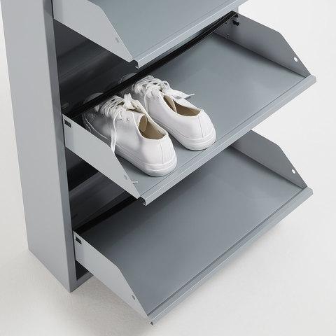 Полка для обуви Rox 4 двери металлическая серая