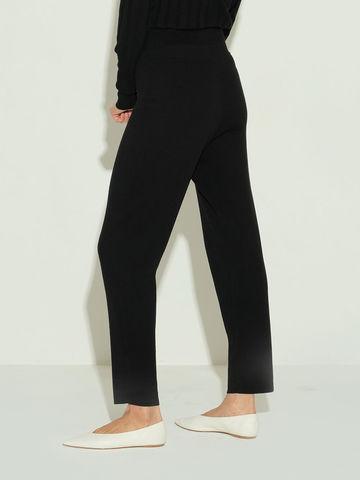 Женские брюки черного цвета из шерсти и шелка - фото 5