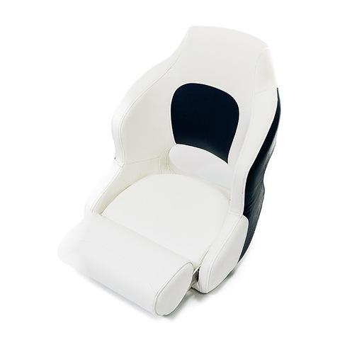 Сиденье мягкое складное Premium Captain's Bucket, с откидным валиком, бело-синее