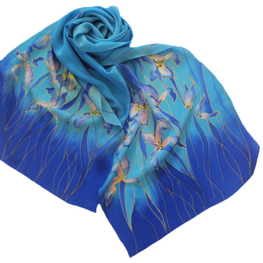 Шелковый шарф батик Голубые ирисы