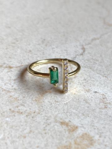Кольцо Дуо из позолоченного серебра с зеленым цирконом