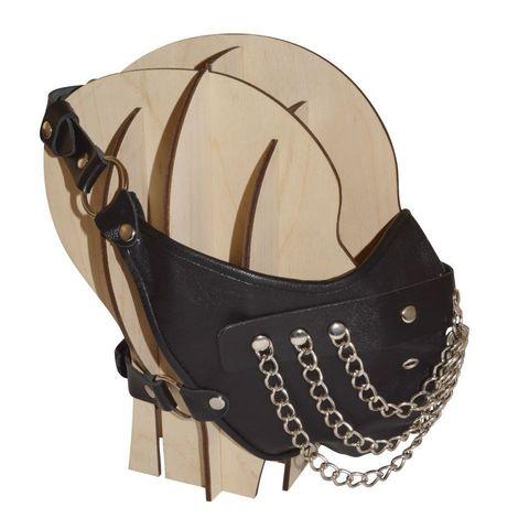 Чёрная кожаная маска с цепочками  Шахерезада
