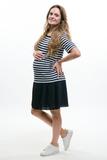 Платье для беременных 09594 бело-синяя полоска