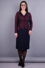 Альфа. Платье больших размеров для женщин. Бордо/синий.