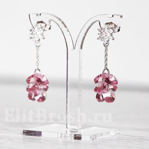 Серьги с розовыми ювелирными кристаллами