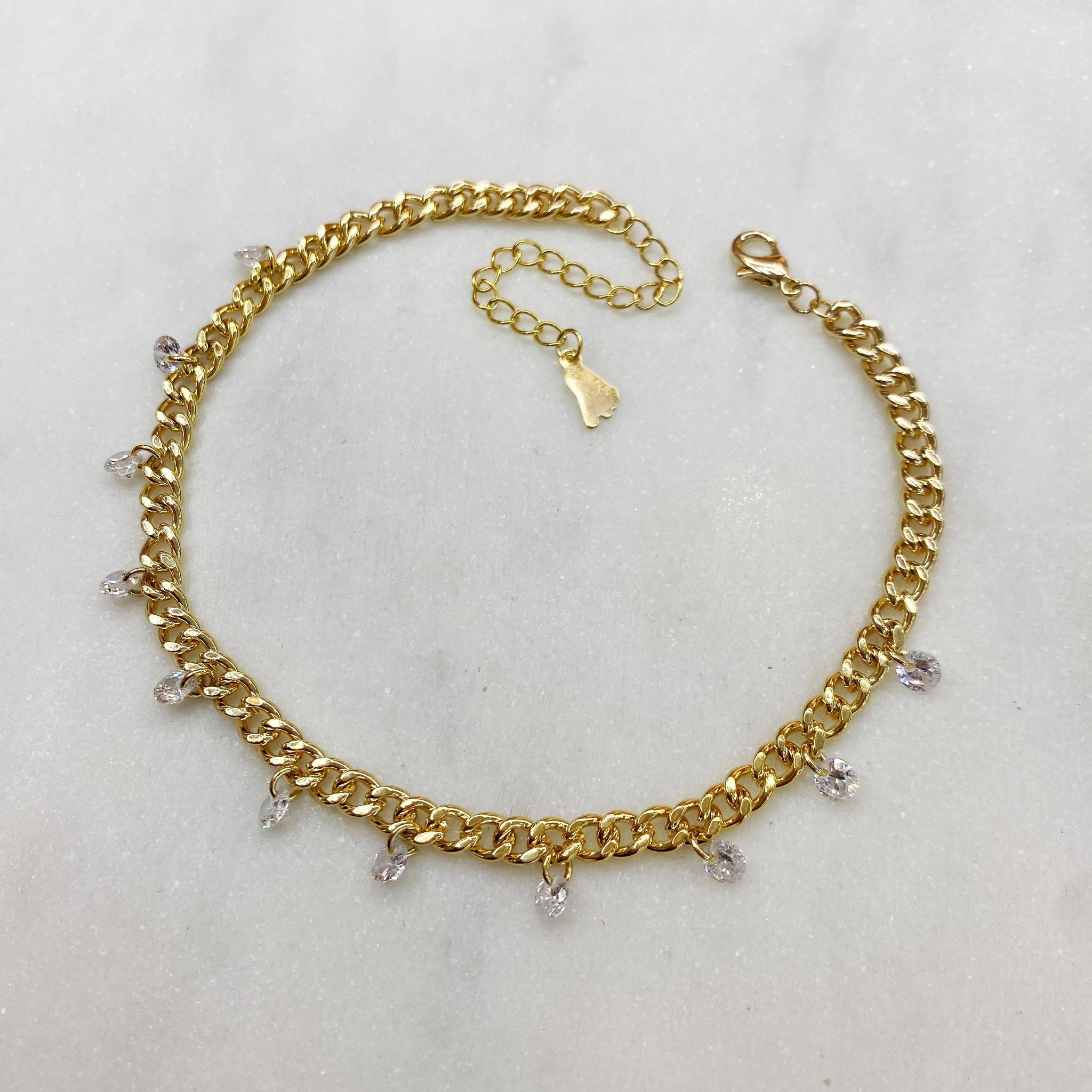 Анклет на панцирной цепи с круглыми кристальными подвесками (золотистый)