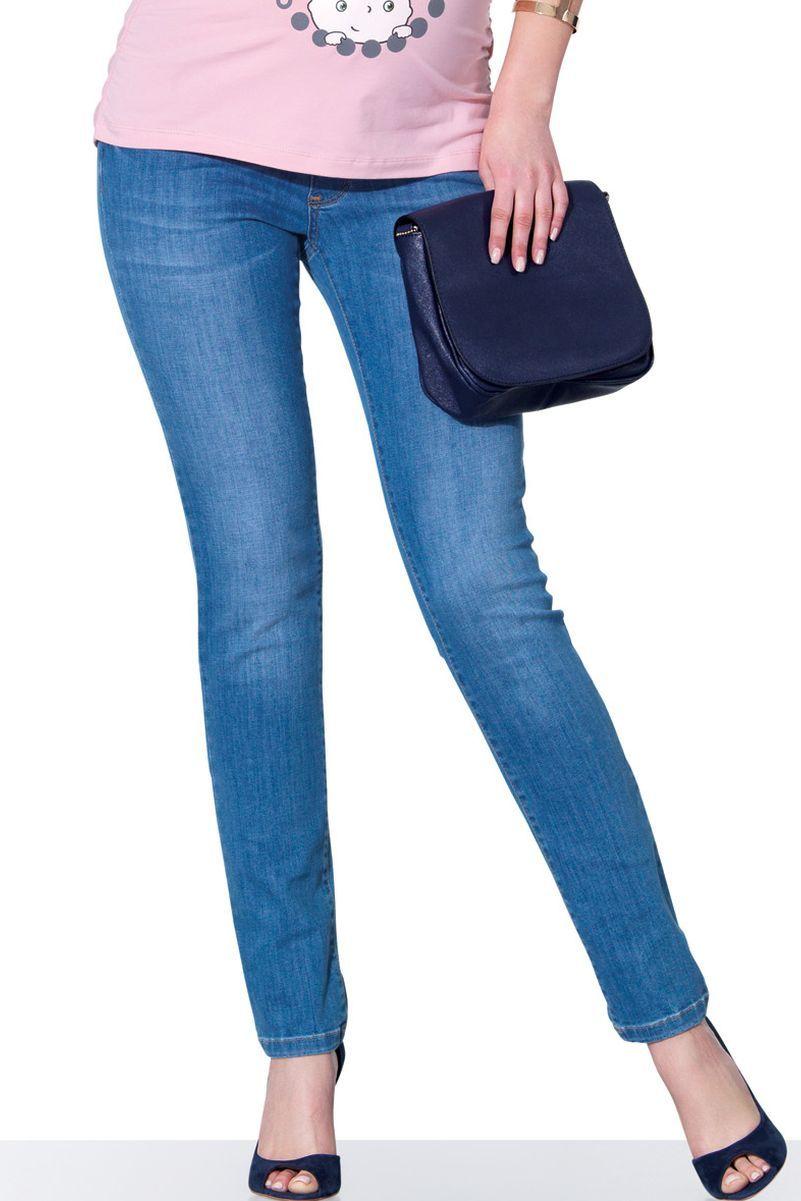 Фото джинсы для беременных EBRU, зауженные, эластичный бандаж от магазина СкороМама, голубой, размеры.