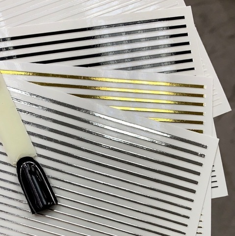 Металлизированные 3d полоски для дизайна ногтей, серебро