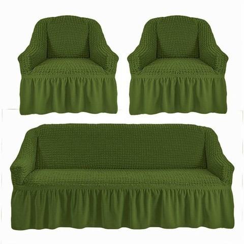 Комплект чехлов для дивана и двух кресел зеленый.