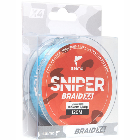 Плетеный шнур SALMO Sniper BRAID Blue 120m - 0,23