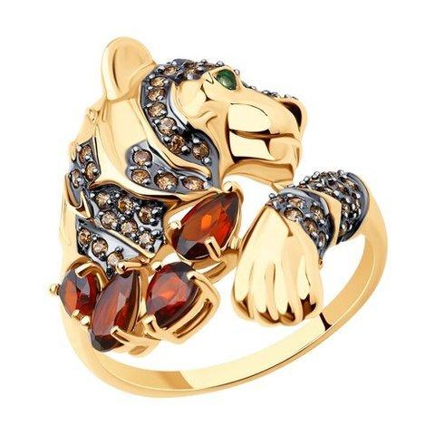 716204 - Кольцо из золота с гранатами и фианитами