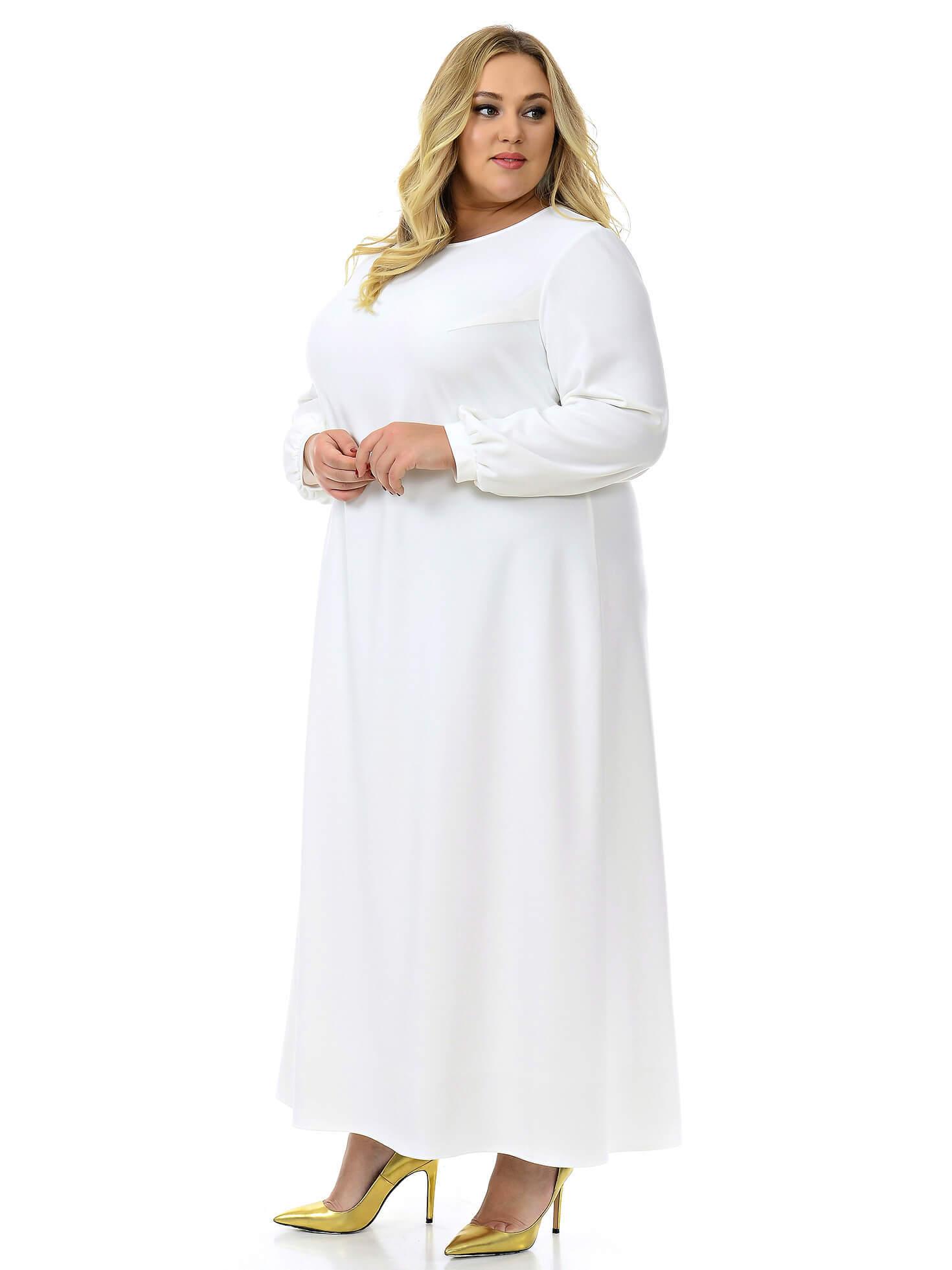 Длинное платье А-силуэта белое