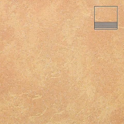 Stroeher - Keraplatte Roccia 834 giallo 300x294x10 артикул 8131 - Клинкерная ступень с насечками без угла