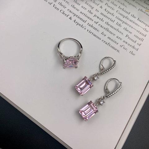 Серьги-петли с прямоуг подвесками pink diamond (циркон серебро925)