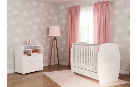 Кровать детская Polini kids French 710, Teddy, с ящиком, белый