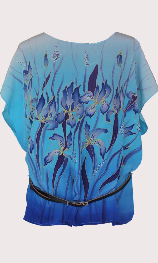 Шелковая блузка батик Голубые ирисы