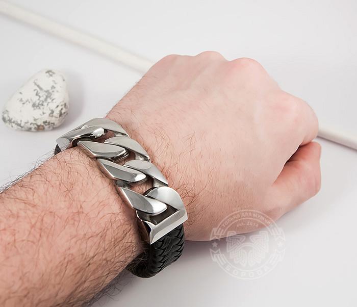 BM413 Крутой массивный браслет их кожи и стальной цепи (23 см) фото 06
