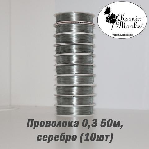 Проволока 0,3мм 50метров серебро (10шт)