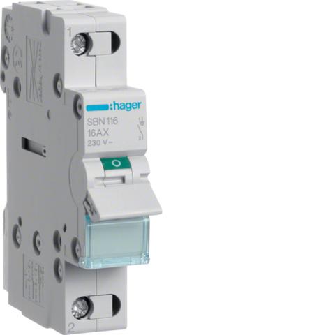 Выключатель-разъединитель (рубильник), 1P, Ie=16A 400В 50/60Гц, AC22A, Ui=500В, ширина 1M; арт. SBN116