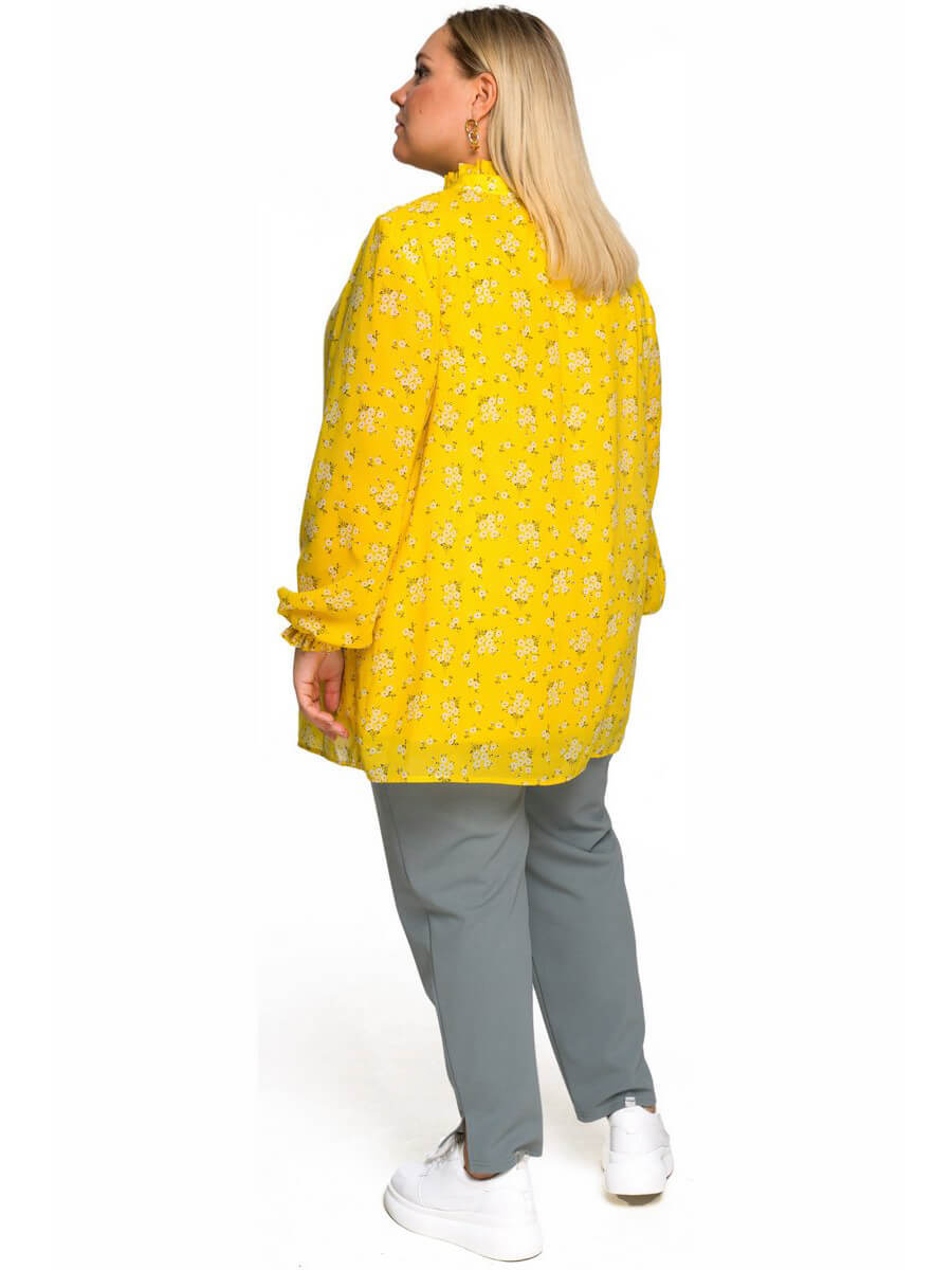 Шифоновая блуза со стойкой, жёлтая