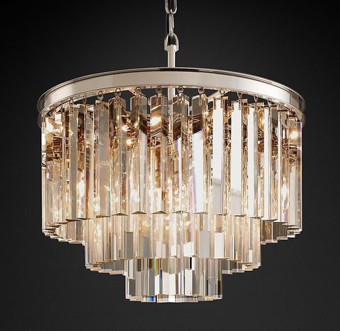 Подвесной светильник копия 1920s Odeon Clear Glass Fringe 3-Tier Chandelier by Restoration Hardware