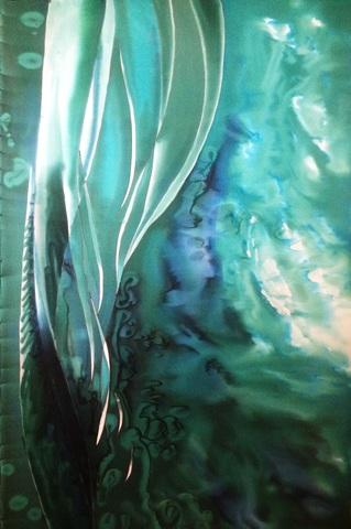 Шелковое парео батик Морская вода