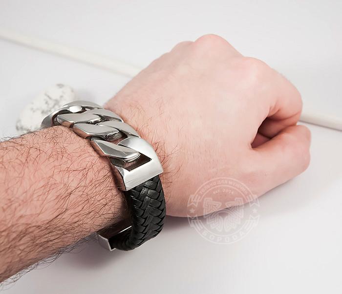 BM413 Крутой массивный браслет их кожи и стальной цепи (23 см) фото 07