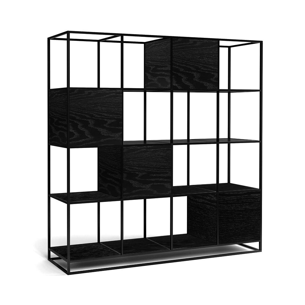 Стеллаж Intelligent design Kvadra 4 секции, черный - вид 4
