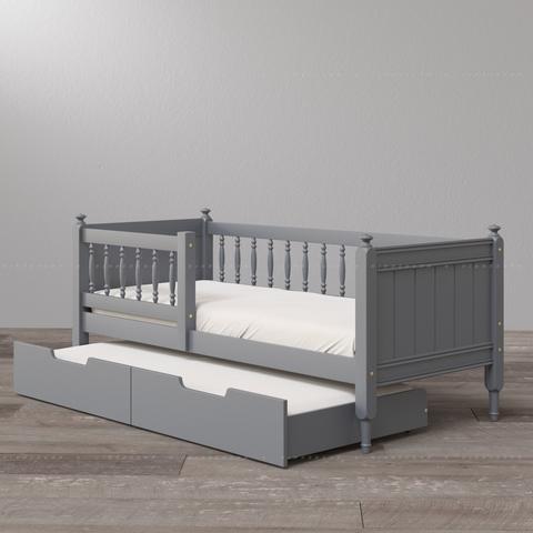 Выдвижная кровать для двоих детей с коротким передним бортиком (опция)