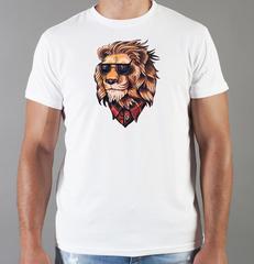 Футболка с принтом Лев (Lion) белая 0025