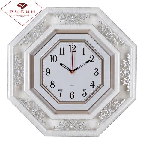 5045-101G (5) Часы настенные восьмиугольные 45х45см, корпус белый с серебром