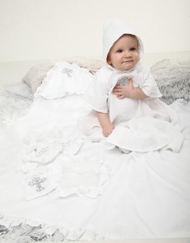 Набор на крещение Vip Style белый с серебром