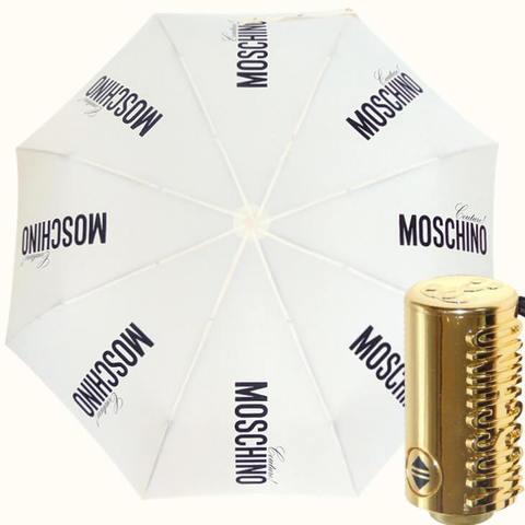 белый зонт автомат с золотой ручкой