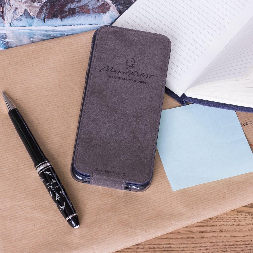 Чехол для Samsung Galaxy S8 Plus из натуральной кожи теленка, цвета индиго