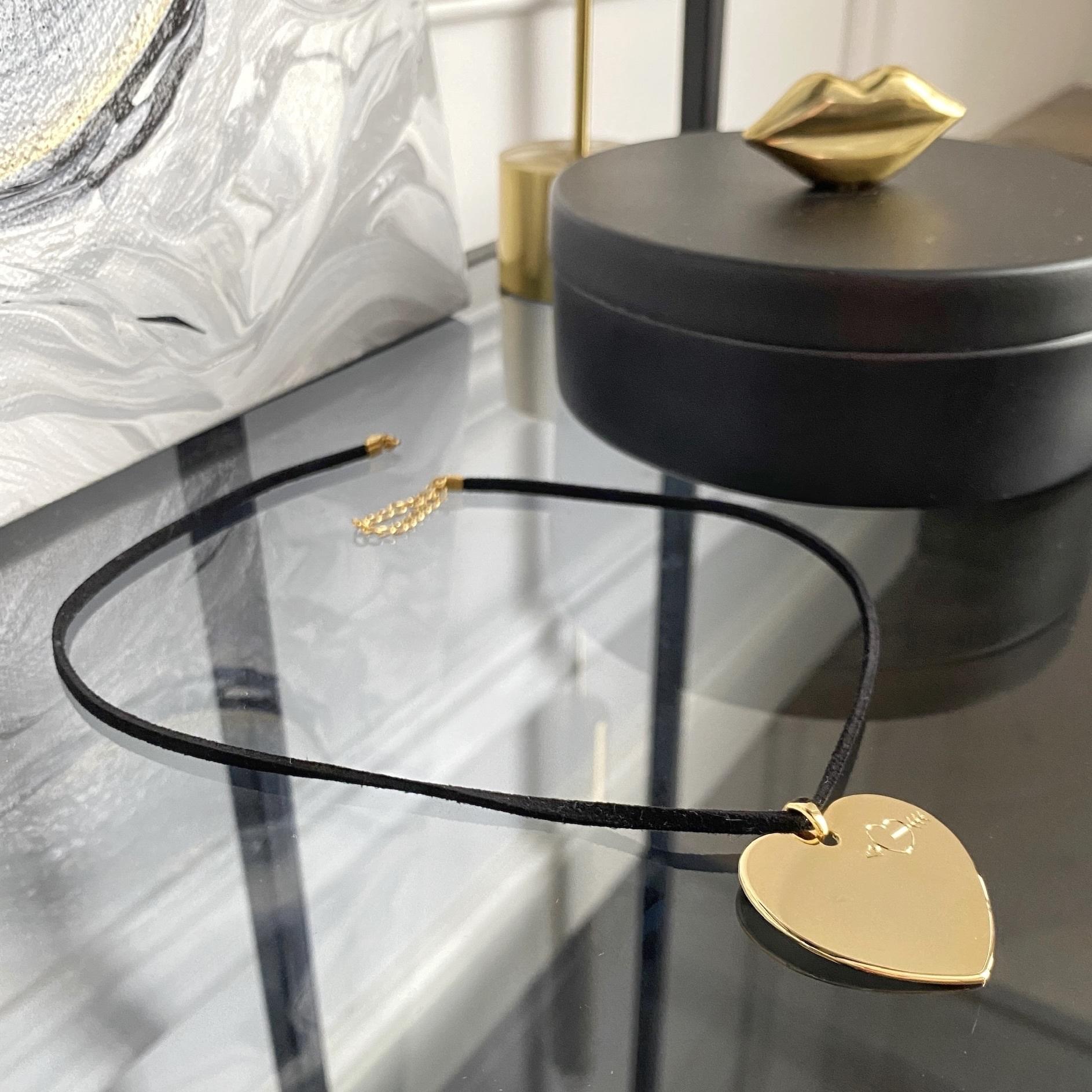 Кулон на шнуре Сердце (золотистый)