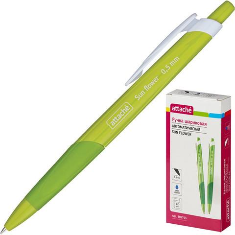 Ручка шариковая автоматическая Attache Sun Flower синяя (зеленый корпус, толщина линии 0.5 мм)