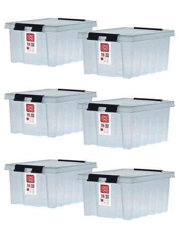 Ящики для хранения RoxBox прозрачные с крышкой 16 литров, набор из 6 штук