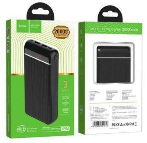 Внешний аккумулятор HOCO J59A 20000mAh 2.0A 2USB/Type-C черный (1/44