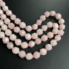 Кварц розовый бусины крупная грань 10х9 мм