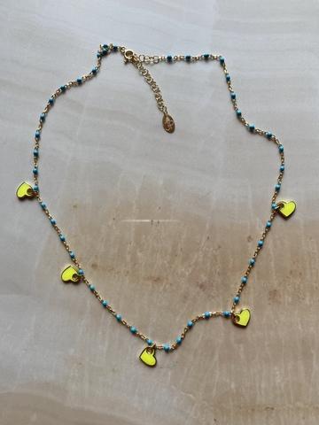 Колье Лавуа, желтая и голубая эмаль