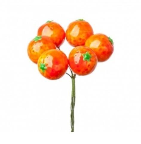 Мандарины на вставках, D3хH12см, оранжевый