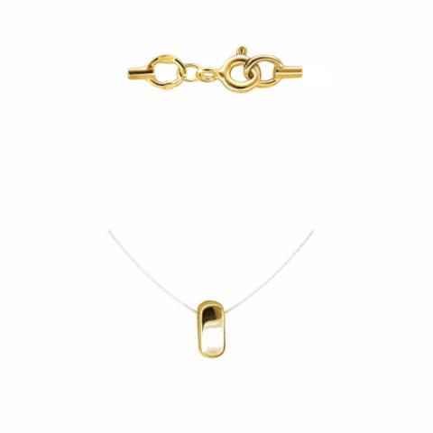 01Л031847- Минималистичная, стильная подвеска из желтого золота на леске-невидимке с золотыми замочками