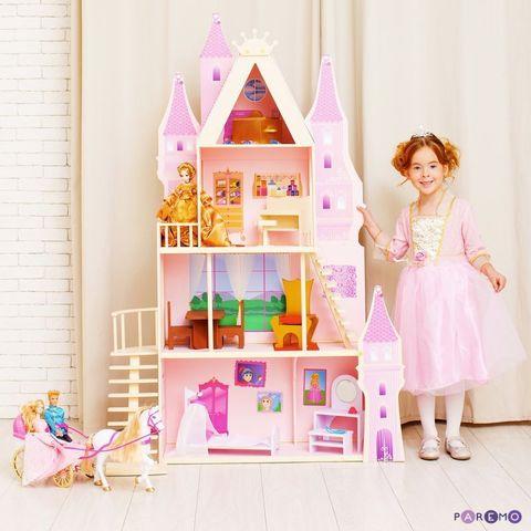 """Кукольный дворец """"Розовый сапфир"""" с 16 предметами мебели и текстилем"""