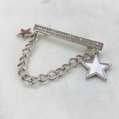Брошь Планка со звездами (цирконы)