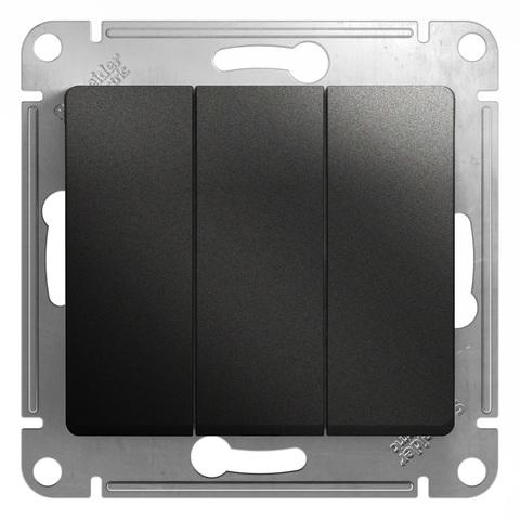 Выключатель трехклавишный, 10АХ. Цвет Антрацит. Schneider Electric Glossa. GSL000731