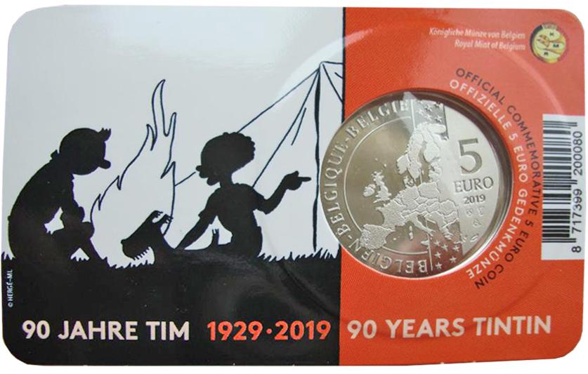 5 евро. 90 лет Приключениям Тинтина. Бельгия. 2019 год