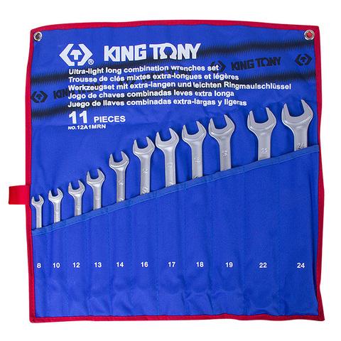 Набор комбинированных удлиненных ключей, 8-24 мм, 11 предметов KING TONY 12A1MRN