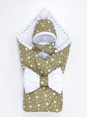 СуперМамкет. Конверт-одеяло с бантом и шапочкой Звезды, коричневый/белый плюш вид 2